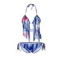 Wholesale fringe bandeau - INS Beach Sunny Vacation Sexy Tassel Swimwear Women Padded Boho Fringe Bandeau Bikini Set New Swimsuit Lady Bathing Suits 29sn aa