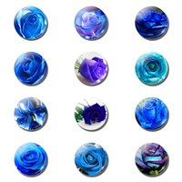 frigoríficos azules al por mayor-12pcs BLUELOVER 25 MM Imán de Nevera Blue Enchantress Lover Regalos Románticos Titular de la Nota de Cristal Magneto Frigorífico Pegatinas Decoración