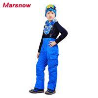 Wholesale girls waterproof windproof pants - Wholesale- 2017 Marsnow Winter Kids Skiing Pants Thick Trouser Boy Girl Windproof Waterproof Outdoor Wear Snow Pants For Children CP09