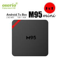 en hızlı android tv kutusu toptan satış-Yeni M95 MINI Android 7.1 Tv Kutusu Quad Core 1 GB 8 GB H3 Çip Destek Wifi 4 K 3D Media Player Akıllı Tv Kutusu Daha MXQ PRO S905W