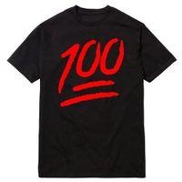 maçã lo venda por atacado-Hot Sale Da Moda Mantê-lo Um Hunnid 100 Emoji 100% Streetwear Sneaker T Shirt de Algodão Camisetas Curtas-Designer de manga