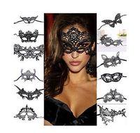 máscaras de encaje negro para bola de mascarada al por mayor-1 UNIDS Mujeres Sexy Lace negro Máscara Facial Masquerade Ball Prom Halloween Carnaval Veneciano Disfraz de Lujo Para Mardi Anónimo