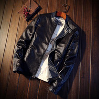 Wholesale mens leather top coat - Wholesale- Hot Selling Mens Leather Jackets Fashion Business Casual Male Coat Slim Comfortable Male Tops Spliced Popular