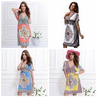 Wholesale Print Silk Maxi Dress - Beach Dress Summer Maxi Dress Ladies Vintage Bohemian Long 4XL Plus Size Women Clothes Three Quarter Sleeve