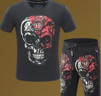Wholesale Men S Sweaters Skull - 2018 new summer clothes men sweater garment sportswear skull print crime set sportswear 3 d T shirt + short shorts