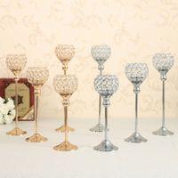 zuhause dekor kristalle großhandel-Vincidern Kristall Metall Kerze Teelichthalter Stand Kerzenständer Kandelaber Hochzeit Tischdekoration Kandelaber Holiday Home Decor