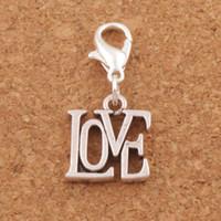 lagosta aberta venda por atacado-Carta de amor aberto Lobster Claw Clasp charme Beads 100 pçs / lote 13.1x29.9mm jóias de prata tibetana DIY C970