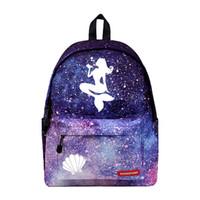 Wholesale galaxy print bags - WISHOT Mermaid Princess Backpack School Travel Bag for girls women Stars Universe Space Galaxy printing