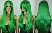 длинные прямые зеленые парики оптовых-Бесплатная доставка +++++ Long Heat Resistant зеленый прямой парик Cosplay