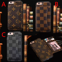 Wholesale Plastic Card Printing - Luxury brand leather print pattern letters phone case for iphone X 7 7plus 8 8plus card slot back cover for iphone 6 6S 6plus