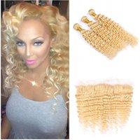destruição do cabelo humano venda por atacado-613 Feixes de Cabelo Humano Com Rendas Frontal Brasileiro Virgem Unprocess Cabelo Humano 3 Pacotes Com Orelha A Orelha Lace Frontal 4 Pçs / lote