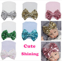 Wholesale cream baby pink resale online - Cute Baby hat Sequins big bow Beanie Infant Maternity Accessories Christmas gifts Spring Autumn Summer winter Hotsale months