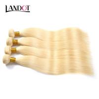 çamaşır suyu sarışın saç örgüsü toptan satış-9A Bleach Sarışın Renk 613 # Brezilyalı Perulu Malezya Hint Düz Bakire Insan Saç Örgüleri Demetleri Remy Saç Uzantıları Boyalı olabilir
