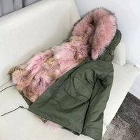 Wholesale women down parka fur lined - Real picture show Mr Mme women short down parkas hooded with raccoon fur collar + coyote furs Lining