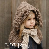 d8f7461d715 Kids Knitted Caps Scarf Set Cute Rabbit Ear 2 in 1 Cartoon Wool Cap Children  Autumn Winter Baby Girls boys NNA777