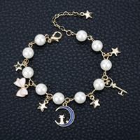 brazalete de luna al por mayor-MQCHUN Jewelry Sailor Moon Charm Bracelet Cardcaptor Sakura Cute Cat Moon Star Crystal Perla de imitación Brazalete Pulsera Wristlet