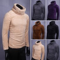 Wholesale men winter sweater fur - Winter keep warm men's inner sweaters Flocking Faux fur sweater high neck BasicThicken sweater male pullovers homme MQ388