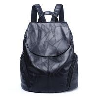 изысканные женщины оптовых-Women's Backpack New PU Leather Fashion Travel Daypack Refined Youth Bags For Girl Schoolbag Female Bagpack Backpacks Woman 2018