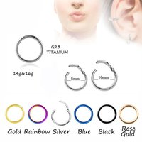 Wholesale helix body - 100pcs Titanium G23 Hinged Segment Nose Hoop Rings Septum Clicker Nose Piercing Earring Tragus Cartilage Ear Helix Body Jewelry