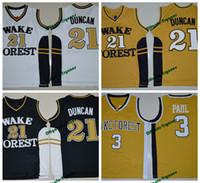 ingrosso pullover di pallacanestro tim duncan-Wake Forest Demon Deacons College Pullover di pallacanestro Tim Duncan Chris Paul Shirt Cheap University cucita Jersey di pallacanestro S-XXL