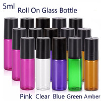 Wholesale Blue Bottle Essential Oils - 5ml (1 6 oz) Glass Roll On Bottles Amber Blue Clear Pink Green With Stainless Steel Ball for Essential Oil