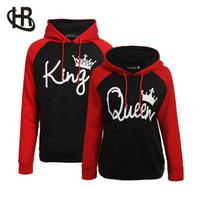 königin kapuzenpullis großhandel-Paar Hoodie - König und Königin sein und Ihrs - neues Design Paar passenden Hoodie