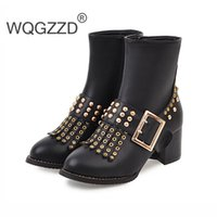 3f3fc082cce9b European Women's Punk Motorcycle Boots Zipper Rivets Ankle Boots For Women  Winter Female Shoes Botas Mujer