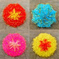 Wholesale large handmade flowers - Craft Umbrella Gauze Iron Rod Metal Frame Dance Prop Large Small Handmade Colourful Flower Umbrellas Direct Deal 28sz2 V
