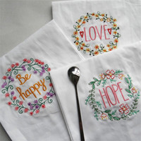 Wholesale cloth napkins resale online - High Grade Napkin Home Furnishing Fabric Art Dinner Cloth Embroider Water Uptake Soft Texture Cup Towel Eco Friendly