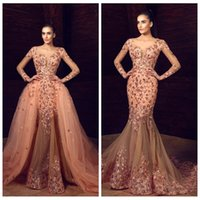 ingrosso bellissimi vestiti rossi-2018 Beautiful Floral Applique Celebrity Dresses Sheer Maniche lunghe in rilievo Mermaid Red Carpet Prom Dress Sexy Tulle Staccabile Train