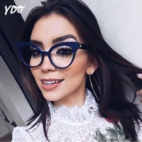 большие очки черные женщины оптовых-YDO Newest Big Cat Eye Eyeglasses Women Fashion Transparent Clear Lens  Designer Black Optical Frame Reading Spectacles