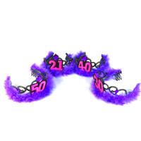 ingrosso festa di compleanno 21-4pcs forniture di compleanno festa tiara viola cerimonia degli adulti accessori per capelli 21 40 50 donna souvenir divertente regalo di compleanno felice