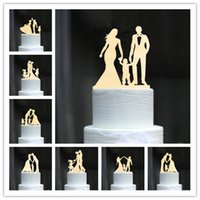 ingrosso baby girl topper-Family Style Rustico in legno Wedding Cake Topper Sposa e sposo Cake Toppers con Kids Boy o Girl Cake Decorating Baby Shower
