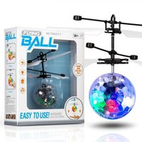 Wholesale flash helicopter toy resale online - RC Drone Flying copter Ball Aircraft Helicopter Led Flashing Light Up Toys Induction Electric Toy sensor Kids Children Christmas OTH486