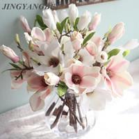 ingrosso torta di decorazione fiore gialla-decorazione di nozze fiori di seta orchidea Magnolia nozze fiori artificiali per la decorazione domestica