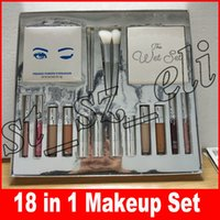 Wholesale 18 brushes - Silver Series Makeup Set Wet Set Blue Honey Palette Skin Concealer Lipstick Lip Gloss Make up Brushes 18 in 1 Kit