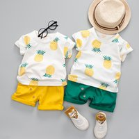 Wholesale free infant clothing - Summer Baby Boys Clothes Suits Infant Cotton Pineapple Printed Casual Sets T-Shirt + Pants 2pcs Children Suits free shipping