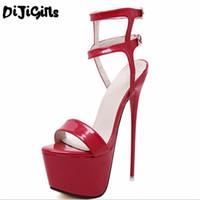 ingrosso scarpe da spogliarellista-Moda Estate Donna Tacchi alti Sandali 16cm Sexy Stripper Scarpe Partito Pompe Scarpe Donna Gladiatore Sandali con plateau