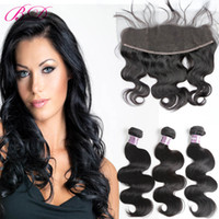 Wholesale front lace human hair closure for sale - Group buy BD Bundles With Frontal Brazilian Body Wave Bundles Lace Front Human Hair Bundles With Closure Non Remy With Gift
