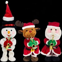 Wholesale hat for snowman online - Funny Kawaii Music Doll For Children Birthday Party Gift Toy Santa Claus Elk Snowman Hat Christmas Electric Novelty Items CCA10649
