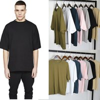 Wholesale United Gray - US UK 2018 Europe United States Stars Street OVERSIZE Loose Shoulder Solid Color Half-sleeved T shirts 7colors