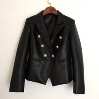casaco duplo para mulheres venda por atacado-Outono Inverno 2018 Runway Designer Black Jacket Mulheres Lion Metal Botões Double Breasted Couro Sintético Outer coat roupas