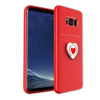 Wholesale apple shaped iphone online - Heart shaped Metal Ring Ultra Thin Slim Case With Ring Stand PC Cover For Iphone X Plus Samsung Note J5 J7 opp