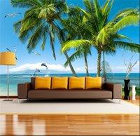 ingrosso vernice di mare blu del cielo-Blue Sky Sea Beach Palm mew Stampa Poster murale Foto Wallpapers Rotolo per divano TV sfondo muro Decor Wall Paper Painting