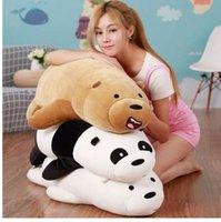 graues bärenspielzeug großhandel-50 cm Cartoon Wir Nackten bären Liegen Bär Gefüllte Grizzly Grau Weiß Bär Panda Plüschtiere für Kinder Kawaii Puppen für Kinder Geschenke