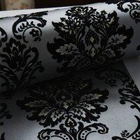 ingrosso carta da parati metallica d'epoca-Wallpaper 10 M 3D affollano carbone di velluto nero metallizzato floccato d'epoca 53 cm di larghezza unico wallpaper