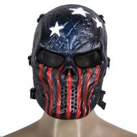 tam yüz airsoft taktik kafatası maskesi toptan satış-5 Renkler Airsoft Paintball Taktik Tam Yüz Koruma Kafatası Parti Maskesi Kask Ordu Oyunu Açık Metal Mesh Göz Kalkanı Kostüm