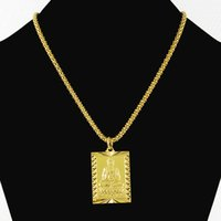 Wholesale 24k gold pendants for men resale online - 70CM Fashion Hiphop Men s Buddhism Style K Pure Gold Color Pendant Necklace for Men Boys Vintage Pop Party Necklaces Jewelry