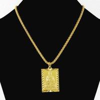 chico de moda de estilo vintage al por mayor-Estilo 24K budismo 70cm Hiphop de la manera de los hombres collar colgante de oro puro de color para Hombres Niños Partido vendimia del collar de la joyería