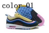 Wholesale Rainbow 45 - 2018 New Sean Wotherspoon x 1 97 VF SW Hybrid Running Shoes For Men Women Corduroy Rainbow Authentic Sneakers size36-45